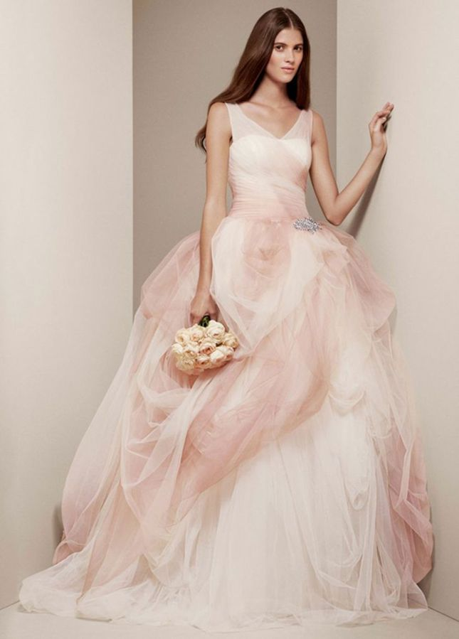 Ombre Tulle Ball Gown with Pick Up Skirt by White by Vera Wang.  Brit+Co. www.TahoeWeddingSites.com