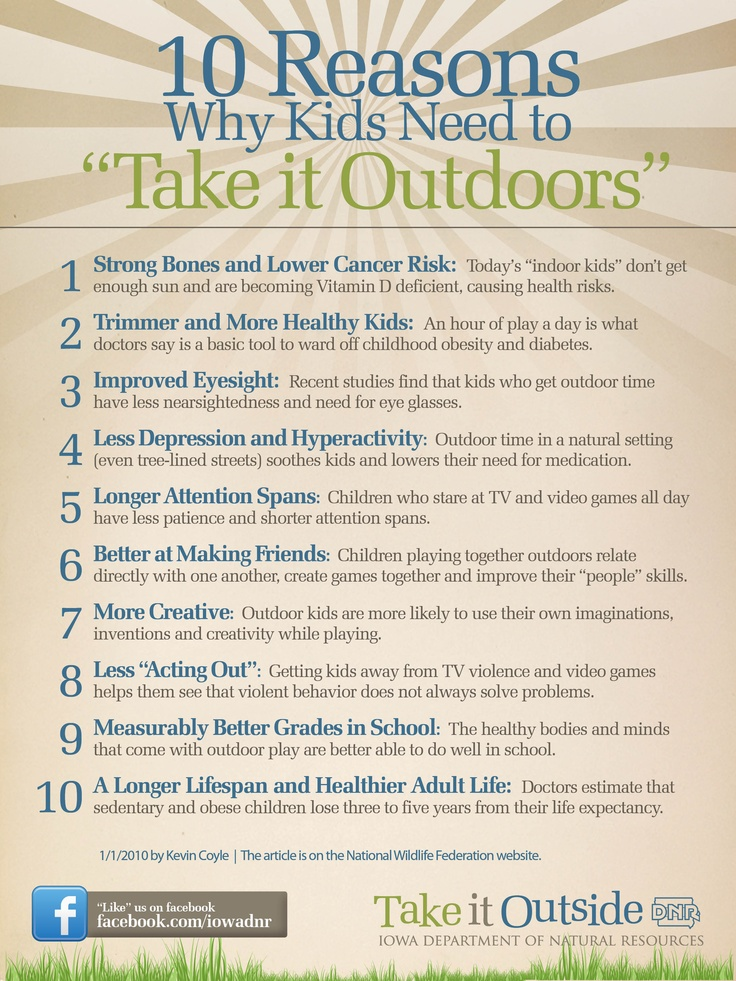 10 reasons why kids need to take it outside!