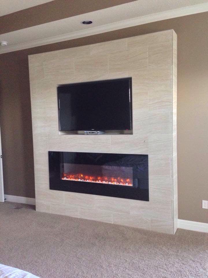 12x24 Porcelain Tile Custom Fireplace Surround  Our