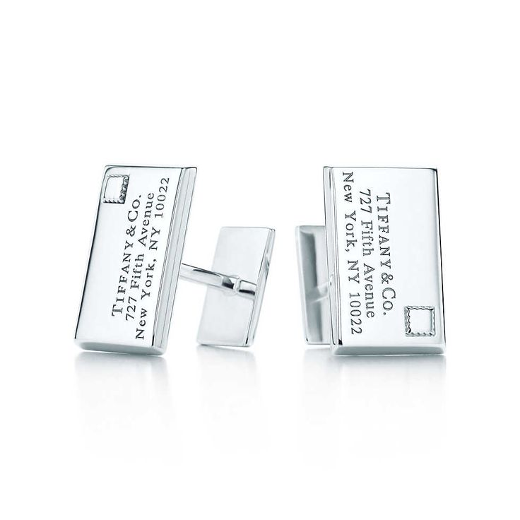 Tiffany & Co.   Envelope cuff links in sterling silver.