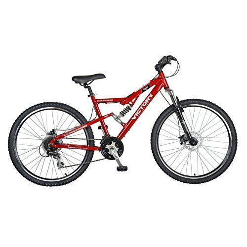 Victory Jackpot 20 Full Suspension Mountain Bike 275 inch Wheels 18 inch Frame Mens Bike Red >>> Details can be found by clicking on the image.