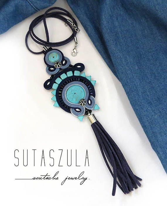Boho blue jeans turquoise tassel colorful necklace soutache