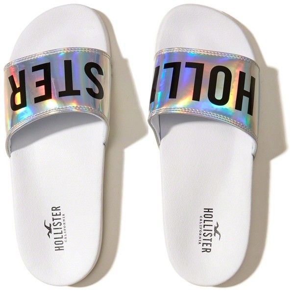 Hollister Iridescent Logo Slides ($20) ❤ liked on Polyvore featuring shoes, white with shine, metallic shoes, polish shoes, logo shoes, shiny shoes and white shoes