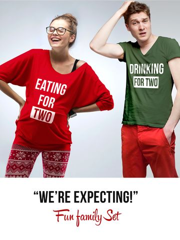 """We're expecting"" Set - Eating for two / Drinking for two"