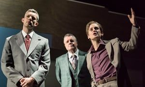 Russell Tovey as Joseph, Nathan Lane as Roy Cohn and Denise Gough as Martin Heller in Angels in America.