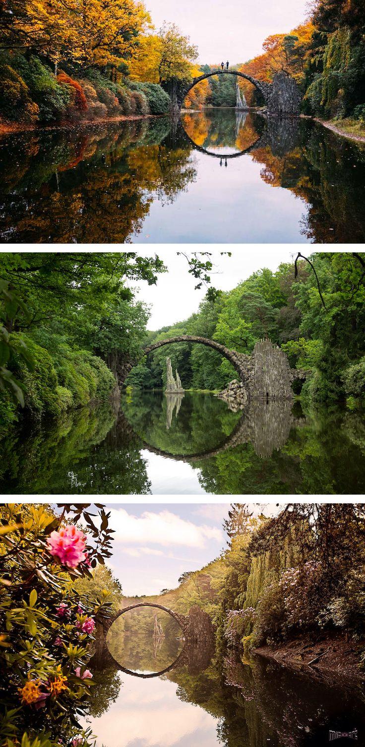 Located in Kromlauer Park in Germany is the Rakotzbrücke, or devil's bridge.