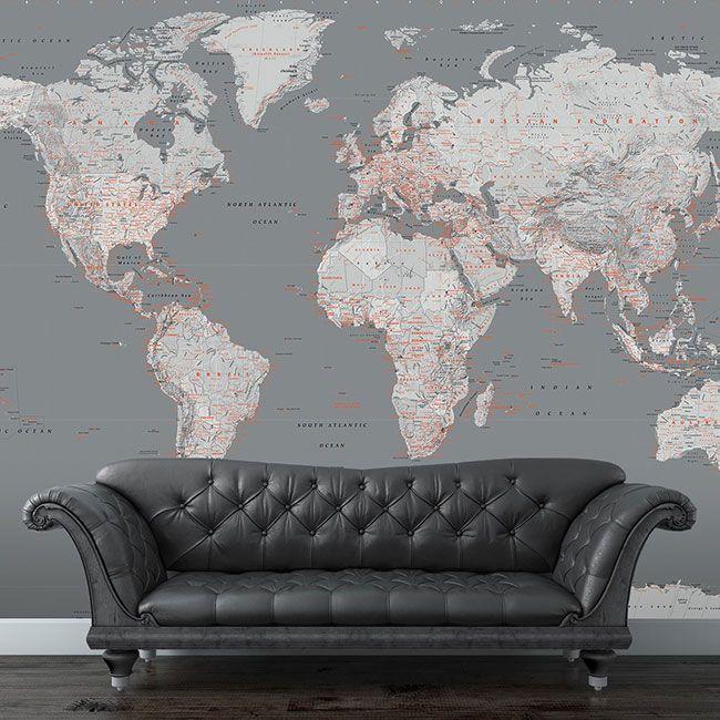 Роскошное панно на стену в виде карты мира #КАРТАМИРА #ОБОИ #ПОСТЕР #ПАННО