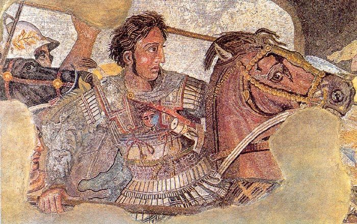 DETAIL of Alexander the Great in the mosaic ofthe Battle of Issus. Pompeii, early 1st c. BCE.