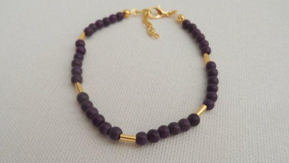Purple Bead Bracelet-Friendship by AccessoriesInLove on Etsy