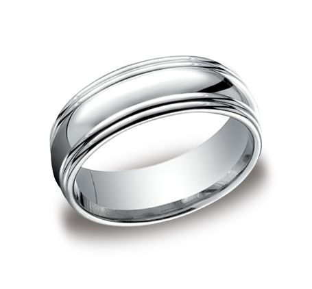 We love the high polished design of this white gold wedding band! Available in rose and yellow gold as well. #Benchmark #weddingbands #stevesjewelers