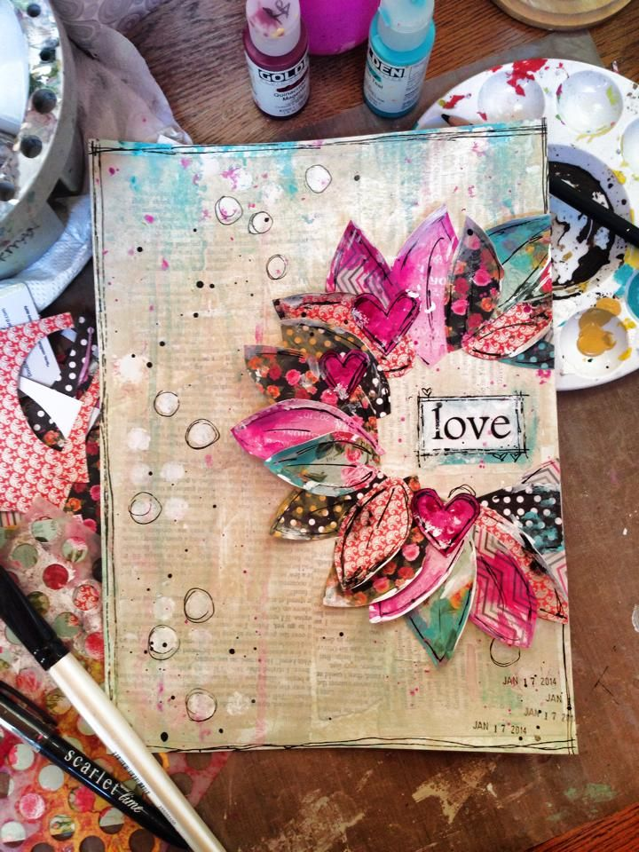 "art by Robin Blackman--""love"" this I like how the petals of the flower are made out of a leaf stamped on printed paper. Great texture for art."