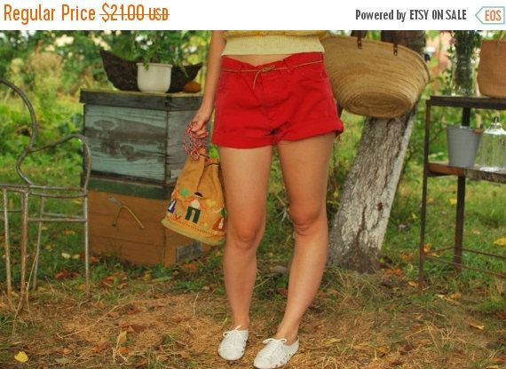 SALE Red High Waisted Denim Cut Off Shorts Levi by kickassvintage