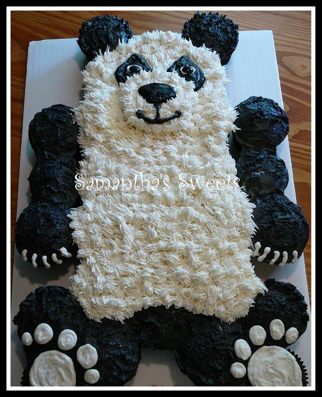 2275 best cupcake cakes cupcake pull apart cakes images for Panda bear cake template