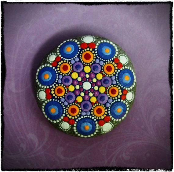 Jewel Drop Mandala Painted Stone- Monet fields