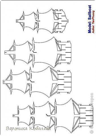 Открытка День рождения Вырезание Киригами pop-up Корабль + схема Бумага фото 12