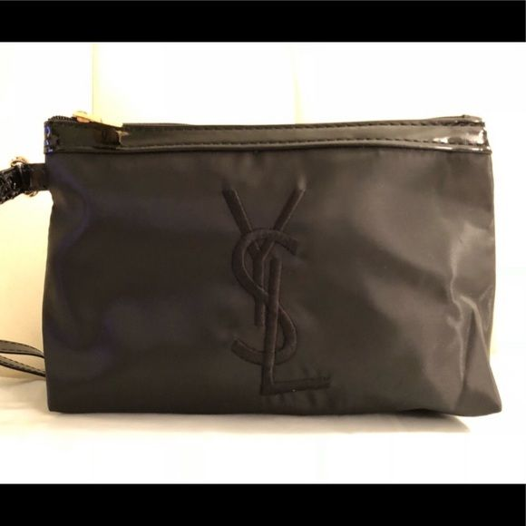 YVES SAINT LAURENT black nylon makeup bag 💄 Black nylon YSL cosmetic case  with large embroidered c3593fc8634be