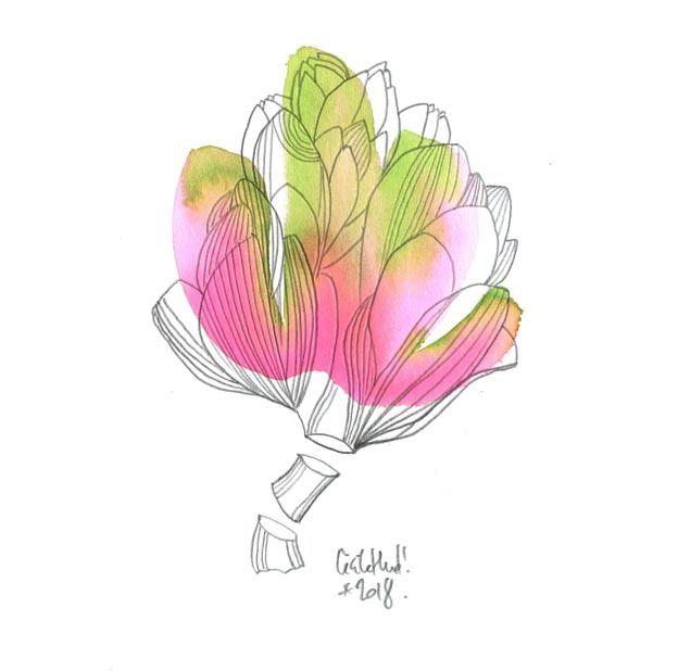 Oh Un Artichaut Les Chosettes Aquarelle Peinture Fleurs