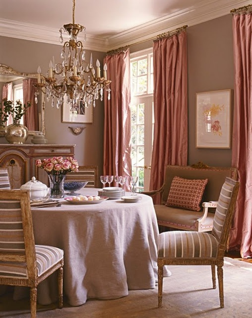 And this will be my dining room.: Colors Palette, Pink Curtains, Wall Colors, Colors Combos, Interiors Design, Living Room, Colors Schemes, Pink Dining Rooms, Pink Bathroom