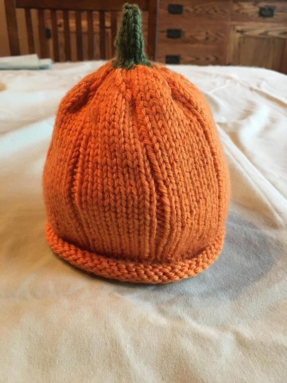 Hand Knit Newborn Pumpkin Hats
