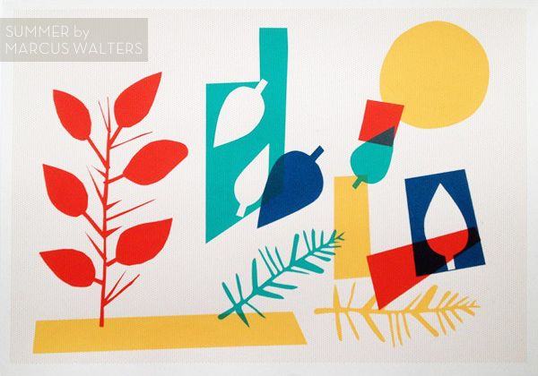 """Summer"" screen print by Marcus Walters: Autumn Prints, Screens Prints, Limited Editing, Summer Screens, Distinct Artworks, Based Screens, Summer Prints, 01 Graphics Design, Marcus Walter"