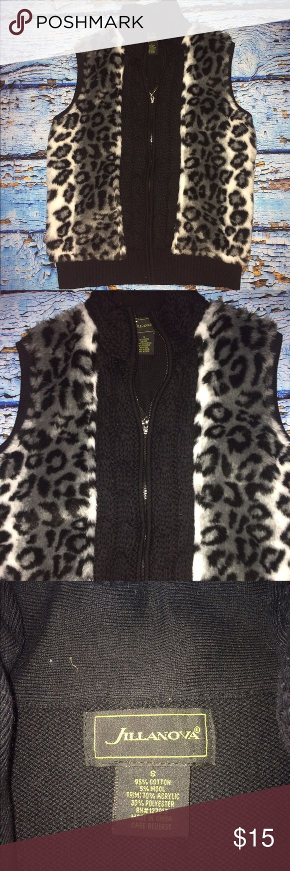 Jilanova women's zip up vest black animal print  S Jilanova women's zip up vest black animal print  S. Preowned in fantastic gently used condition with no visible signs of wear! jilanova Jackets & Coats Vests