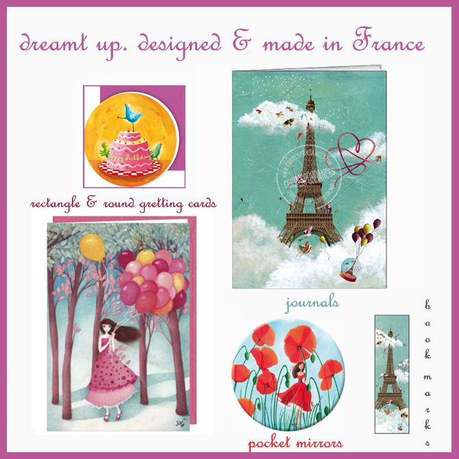 dreamt up. designed & #madeinFrance Adorable French #Stationery includes Greeting Cards, Bookmarks, Pocket Mirrors, Journals & More! Full range: http://www.thefrenchshoppe.com.au/french_stationery.html