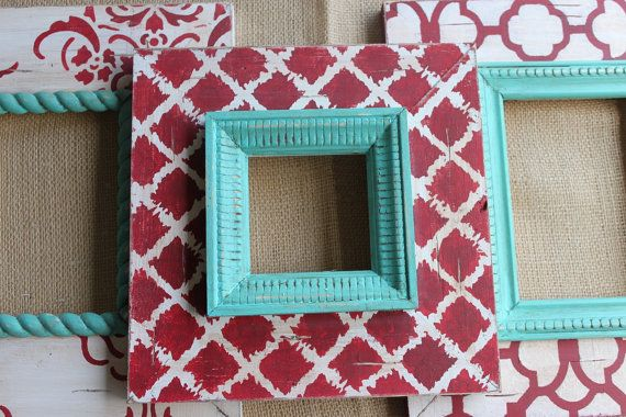 DIY inspiration. Love the turquoise and red.