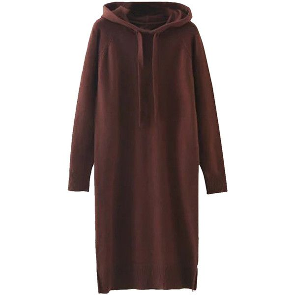 Womens Drawstring Hooded Long Sleeve Side Slit Sweater Dress Ruby ($47) ❤ liked on Polyvore featuring tops, hoodies, ruby, brown tops, side slit top and long sleeve tops