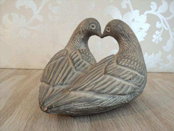 Lovebird Sculpture, grey stone figurine, doves, love birds, Austin Sculpture, Shattuck, 1980, valentines, lovers, wedding cake topper