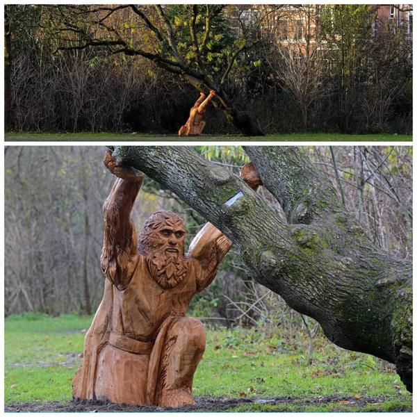 Te laag hangende takken van fruitbomen ondersteunen met een houtsculptuur. @VondelparkAdam en @RonaldLoch
