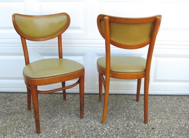 Vtg Pair of Mid Century Empire State Wood Vinyl Pea Green Bent Wood Pub Chairs #EmpireState #MidCentury #EmpireState