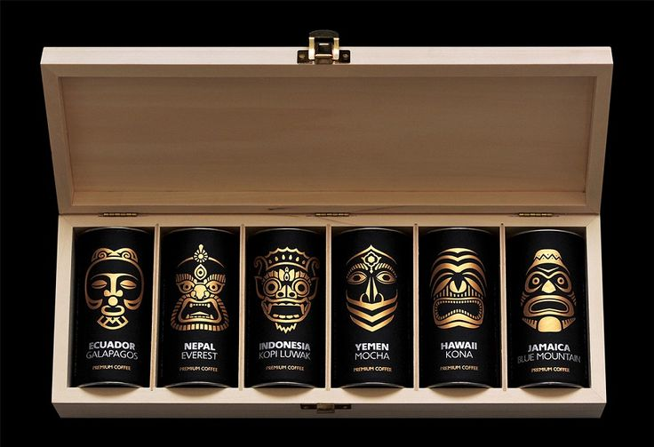 Packaging for exotic coffee collection. Design studio – Artemov Artel (Kiev, Ukraine).