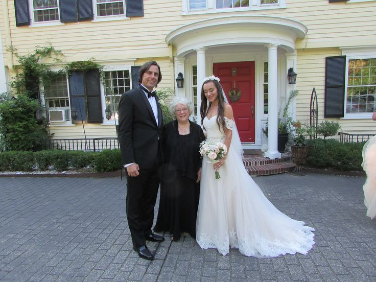 Officiant Zita Christian with newlyweds Frank and Cassandra at the Bee and Thistle Inn in Old Lyme, CT