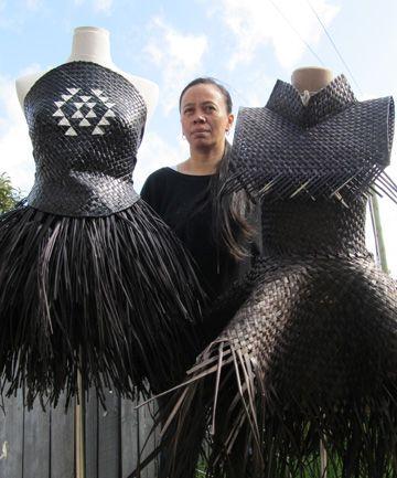 Shona Tawhiao - woven flax garments.