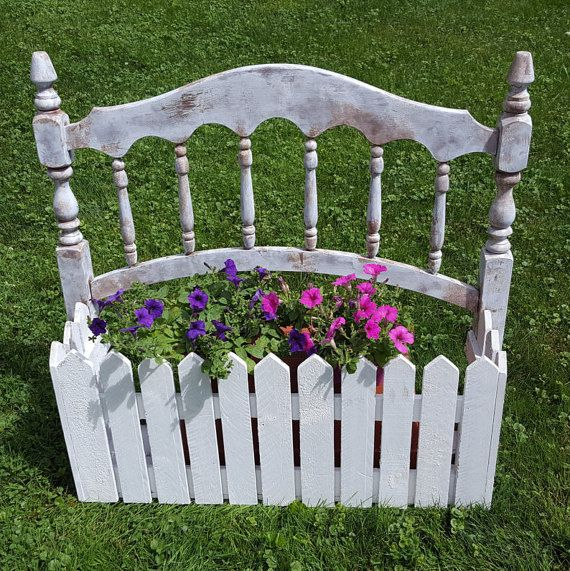 Planter box headboard Garden Planter White Picket by CreativeMarc