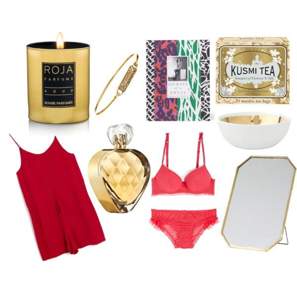 xmas luxuries by lenahcaruana on Polyvore featuring interior, interiors, interior design, home, home decor, interior decorating, Kusmi Tea, Roja Parfums, Rebecca Minkoff and Elizabeth Arden:
