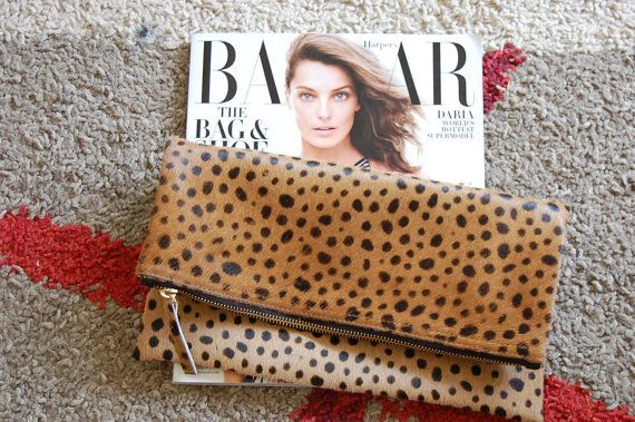 Leopard fold over clutch, Leopard Clutch, Leather leopard clutch, Lepoard Clare Vivier inspired clutch