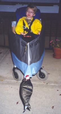 Fisherman in an Aluminum Rowboat Halloween Wheelchair Costume - stroller boat?