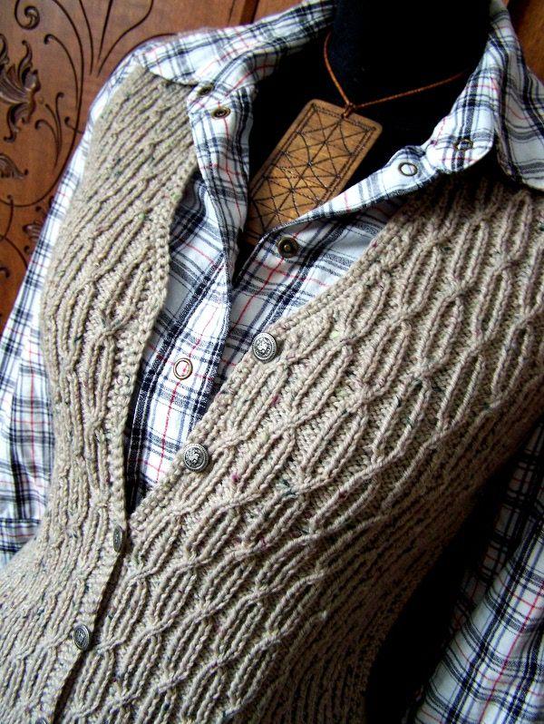 http://napmatkastudio.blogspot.hu/p/munkaim.html handknit and crochet from Hungary - Decent Days waistcoat / vest - find pattern on Ravelry