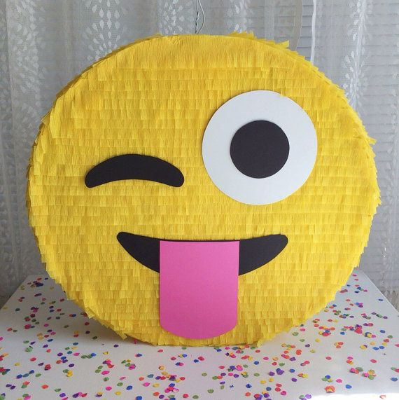 Entertain all your guests with this silly face emoji pinata! Great for adults and kids!  Pinata is approximately 20 in diameter and 4 deep, and can hold 3-4 lbs of candy and toys. Comes with a sturdy wire hanger and easy opening on the back.  Prefer a different emoji face? No problem, just send me a note at checkout!   *************************  Please see shop announcement for current turnaround times. If needed sooner, contact me to discuss expedited shipping options.  Be sure to include…