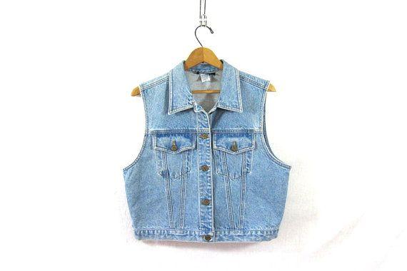 80s blue jean vest. sleeveless jean jacket. by dirtybirdiesvintage