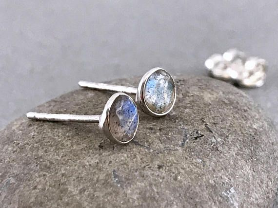 Sterling silver Labradorite gemstone stud earrings Silver