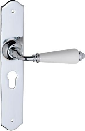 Tradco 'Monaco' white porcelain lever (0768E). Solid brass and porcelain in chrome plated finish. www.tradco.com.au www.tradco.co.nz