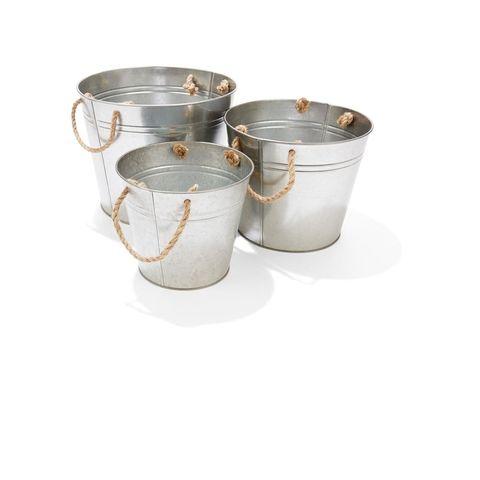 3-Piece Metal Planter Tub Set - Grey