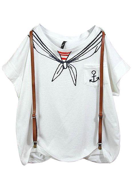 White Scarf Print Pocket Batwing T-Shirt - Sheinside.com