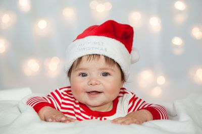 Baby Christmas Photography, Baby Poses, Baby Santa hat, First Christmas Photos, Baby Christmas Lights Jacquelyn Rose Photography www.jrosefoto.com