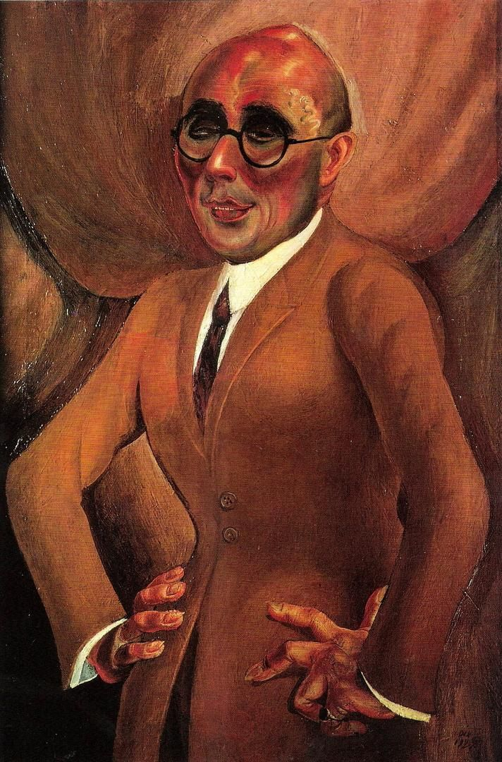 Otto Dix, Portrait of Juweliers Karl Krall. 1923, Kunstmuseum Stuttgart. This painting was banned by the Nazi regime and exhibited at the Degenerate art exhibition in Munich in 1937.