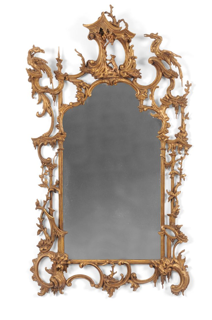 An Important Rococo Giltwood Wall Mirror Carved With