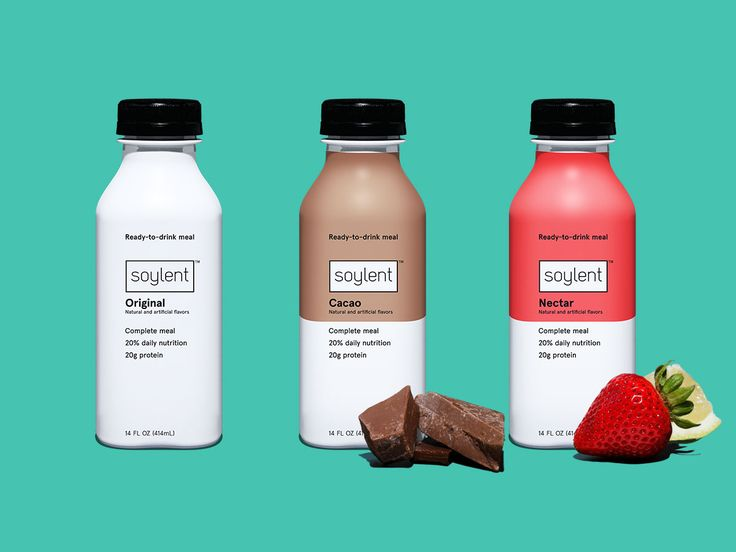 Three bottles of Soylent Drink. Original, Cacao and Nectar.