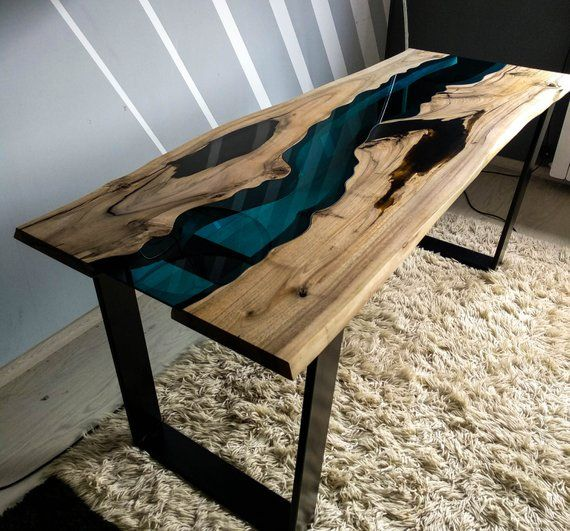Sold Live Edge Walnut River Table With Black Epoxy Resin Sold Far